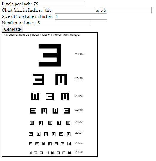 A Visual Acuity Chart Generator in JavaScript
